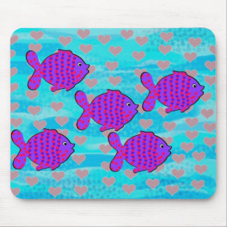 Fell in love fish mouse pad