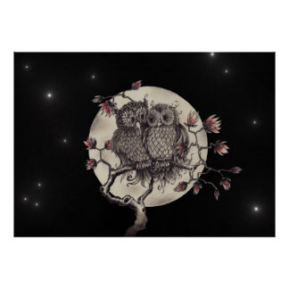 Fell in love owls - Owls with Love Poster