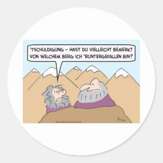 fell off mountain guru german classic round sticker