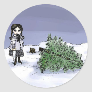 Felling the Holiday Tree Classic Round Sticker