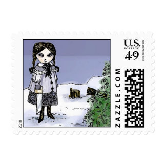 Felling the Holiday Tree Postage Stamps