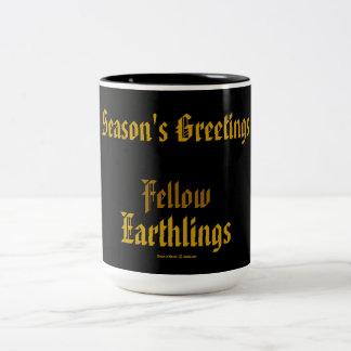 """Fellow Earthlings"" Funny Gold Holiday Merry Xmas Coffee Mug"