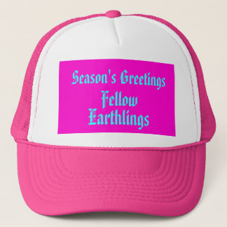 """""""Fellow Earthlings"""" Funny Pink Merry Xmas Holiday Trucker Hat"""