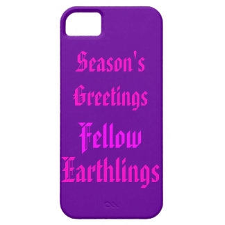 """Fellow Earthlings"" Funny Purple/Pink Merry Xmas iPhone SE/5/5s Case"