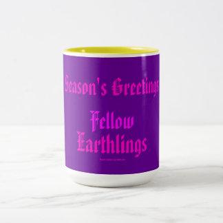 """""""Fellow Earthlings"""" Funny Purple/Pink Merry Xmas Coffee Mug"""