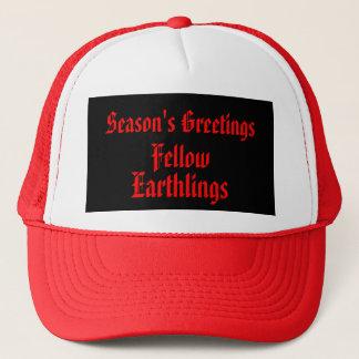 """Fellow Earthlings"" Funny Red/Black Merry Xmas Trucker Hat"