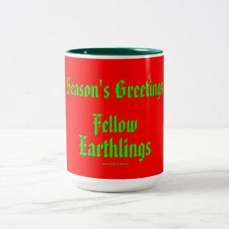 """Fellow Earthlings"" Funny Red/Green Merry Xmas Mug"