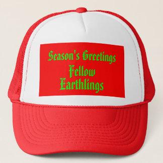 """Fellow Earthlings"" Funny Red/Green Merry Xmas Trucker Hat"