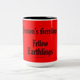 """Fellow Earthlings"" Funny Red Merry Xmas Holiday Coffee Mug"