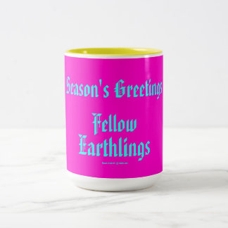 """Fellow Earthlings"" Funny Retro-Style Merry Xmas Mugs"