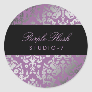 felpa de la púrpura del damasco 311-Dazzling Pegatina Redonda
