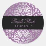 Felpa de la púrpura del damasco del deslumbramient etiqueta redonda