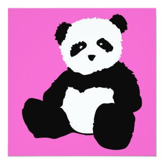 """felpa rosada de la panda invitación 5.25"""" x 5.25"""""""