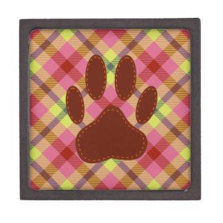 Felt Dog Paw Print Stitched On Fabric Jewelry Box