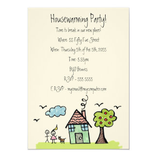 Felt House Warming Moving Party Invite Invitation