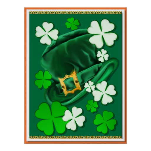 Felt Irish Hat and Shamrocks Poster