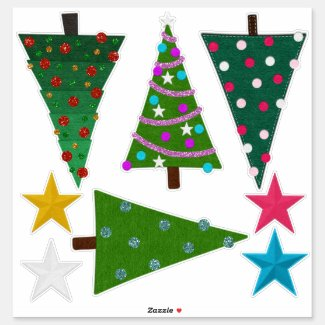 Felt Look Christmas Trees and Stars Sticker