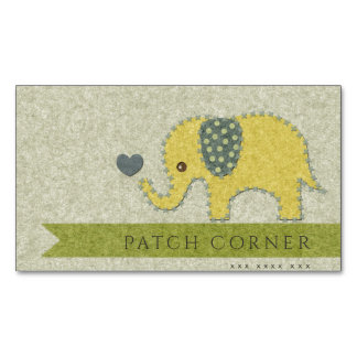 FELT PATCH QUILT WORK BABY ELEPHANT MONOGRAM BUSINESS CARD MAGNET