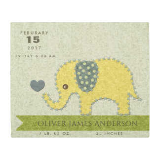 FELT PATCHWORK BABY ELEPHANT BIRTH STATEMENT METAL PRINT