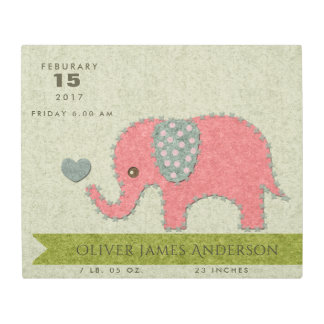 FELT PATCHWORK PINK BABY ELEPHANT BIRTH STATEMENT METAL PRINT