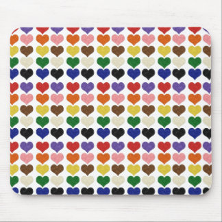 Felt patterned cute colorful hearts mouse pad