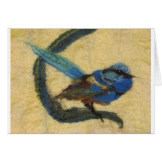 Felted Art - Blue Bird Card
