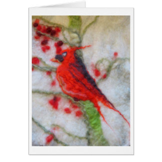 Felted Art - Cardinal and winter berries Card