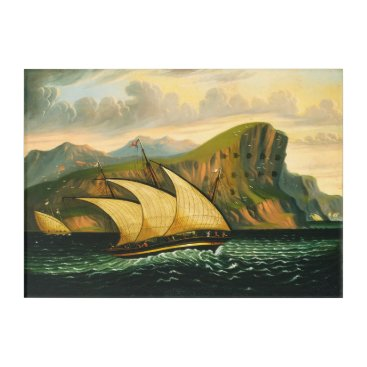 Art Themed Felucca off Gibraltar by Thomas Chambers Acrylic Print