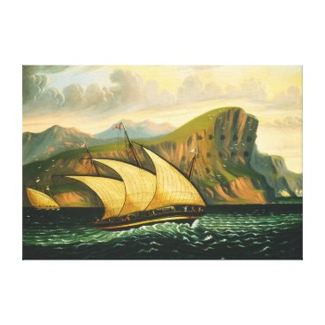 Art Themed Felucca off Gibraltar by Thomas Chambers Canvas Print