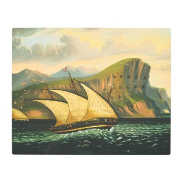 Art Themed Felucca off Gibraltar by Thomas Chambers Metal Print