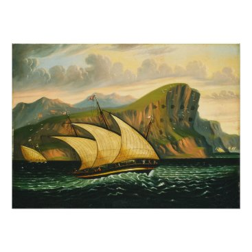 Art Themed Felucca off Gibraltar by Thomas Chambers Poster