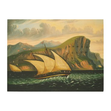 Art Themed Felucca off Gibraltar by Thomas Chambers Wood Print