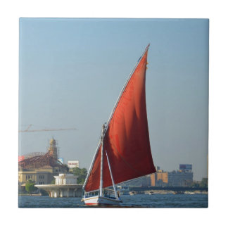 Felucca With Red Sail Ceramic Tile