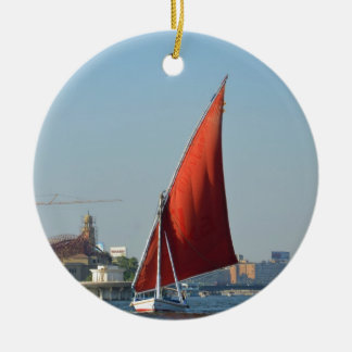 Felucca With Red Sail Double-Sided Ceramic Round Christmas Ornament