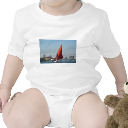 Felucca With Red Sail Tees