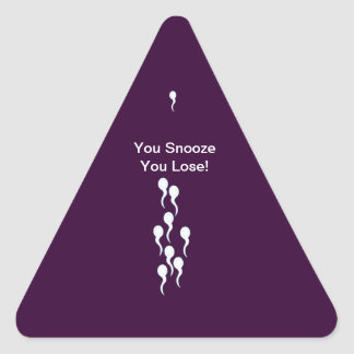 Fem. gems_You Snooze You Lose! Triangle Sticker