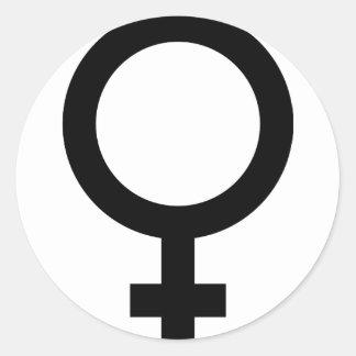 Femal - mujer - muestra de las mujeres pegatina redonda