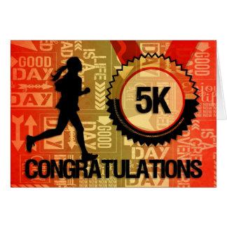 Female 5K Runner Congratulations Sports Card