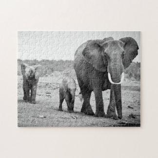 Female African elephant and three calves Kenya Jigsaw Puzzles