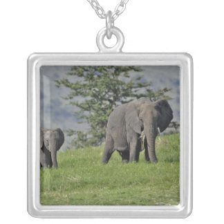 Female African Elephant with baby, Loxodonta 2 Square Pendant Necklace