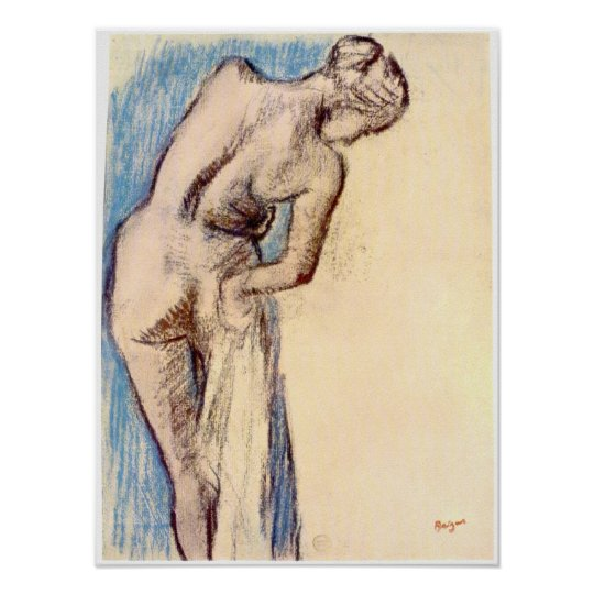 Female after the bath by Edgar Degas Poster