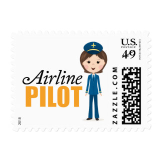 Female airlane pilot girl cartoon in uniform postage stamps