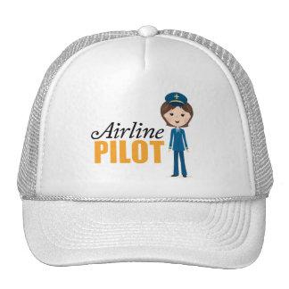 Female airline pilot cartoon girl in uniform trucker hat