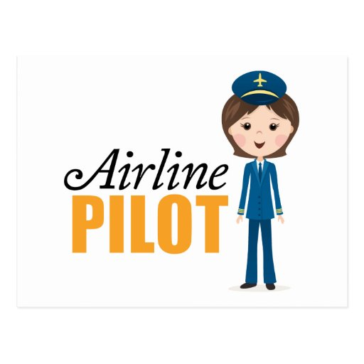 Female airline pilot cartoon girl in uniform postcard