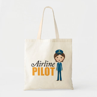 Female airline pilot cartoon girl in uniform tote bag