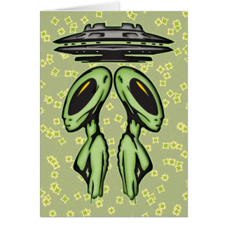 Female Aliens and UFO Card