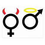 female and male icon postcard
