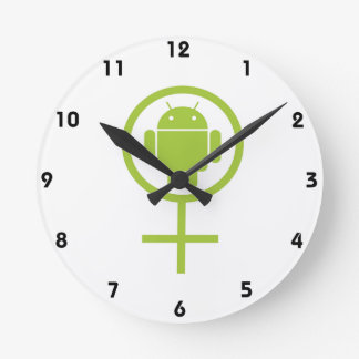 Female Android (Software Developer) Bug Droid Round Clock