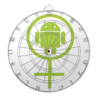 Female Android Software Developer Bug Droid Dartboard With Darts