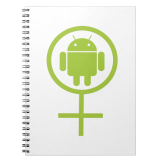 Female Android (Software Developer) Bug Droid Spiral Note Books
